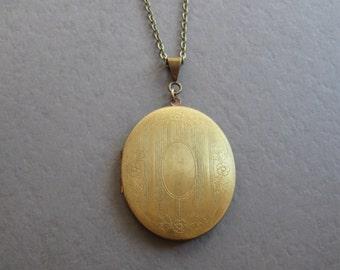 Vintage brass locket necklace, oval photo locket, womens gift, engraved design floral, black friday sale
