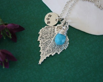 Mom Leaf Necklace Personalized, Real Leaf, Turquoise Gemstone, Birthstone, Monogram Charm, Sterling Silver, Birch Leaf