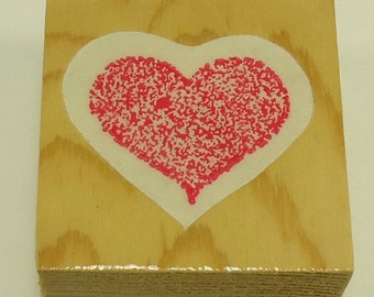 Stone Fleck Heart Wood Mounted Rubber Stamp By The Stamp Pad Company