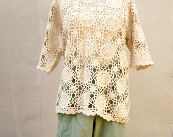 Vintage crochet top / natural cotton pullover / sexy boho crochet beach cover / womens medium