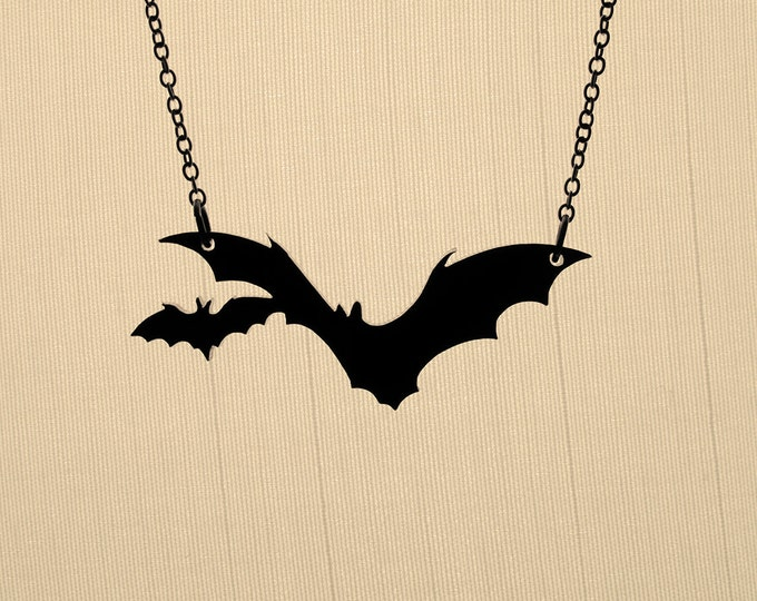 Featured listing image: Small Bat Necklace - Laser Cut Necklace (C.A.B. Fayre Original Design)