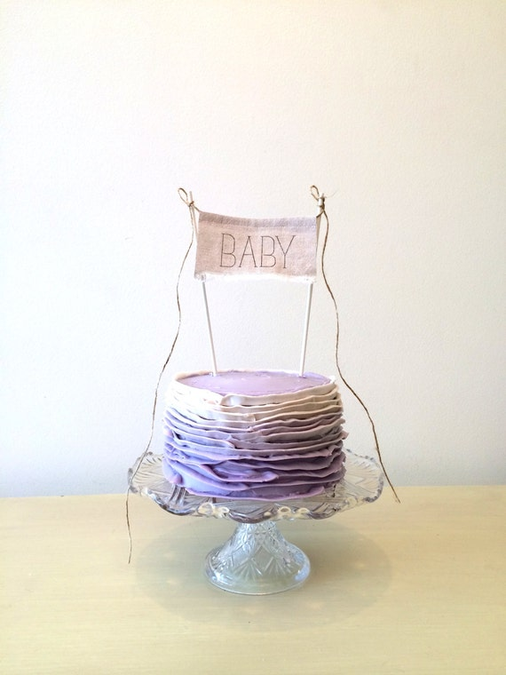 Baby Shower Cake Topper - Linen Banner Style -  BABY