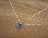 Solid 14K Gold London Blue Topaz Necklace- Very Limited Edition by Yania Creations Jewelry