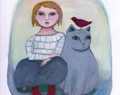 Fine Art Print, Emi's Cat. cats, pet, children's art