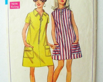 """Simplicity 7583 Zip-Front A Line Dress, Loose Fitting Dress, Short Sleeves or Sleeveless MISSING View 1 Collar  Size 12 Bust 34"""""""