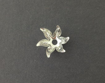 Silver Plated 6 Petal Flower Bead Cap (8) mtl071A