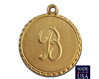 Raw Brass Letter B Initial Charm Drop with Loop (1) chr190B