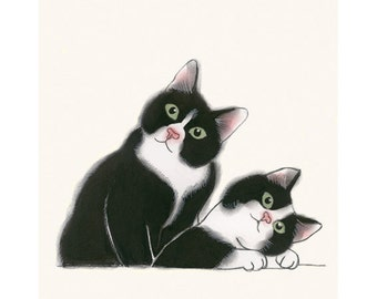 "Two cats Cat Illustration - Tuxedo Cat Print - Kitten Art - 4 for 3 SALE - Didier and Leon  - 4"" X 6"" animal portrait"