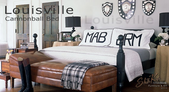 Lousiville King Cannonball Bed | As Seen in Elle Decor Magazine | Black Bedroom Furniture | Primitive Painted Furniture