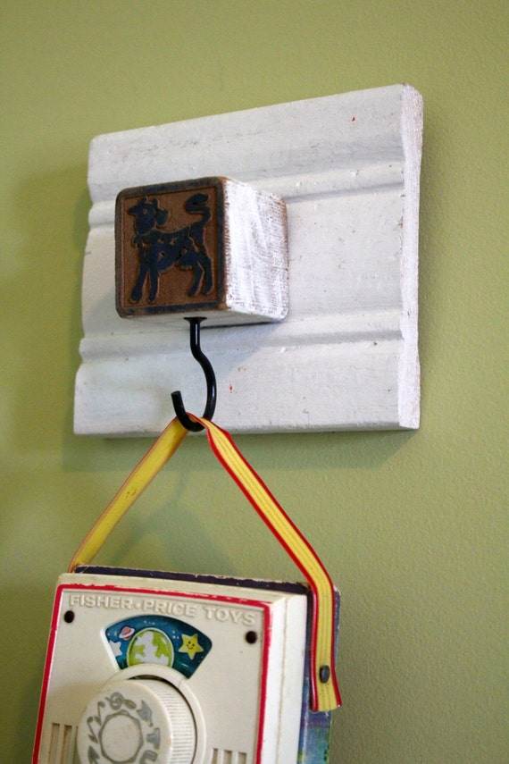 Vintage Baby Blue cow Block Hook Rack