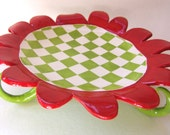 pottery Serving Dish lime green & red checkered, whimsical curly legs, platter, cake plate, whimsical pedestal