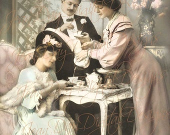Tea Time with My Dear Friends, Digtial Instant Download - French Postcard 1907 - Photo Scan Tea Party - FrA176