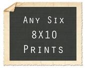 Any Six 8X10 Fine Art Giclee Print Set