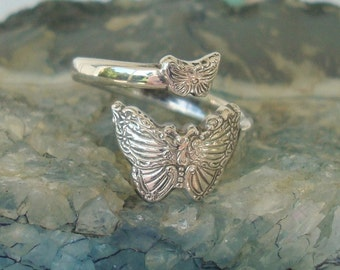 Vintage Heavy RARE Wallace Butterfly Sterling Silver Spoon Ring    dmfsparkles