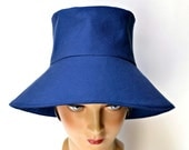 Retro Sun Hat in Royal Blue Canvas - Made to Order in Your Size