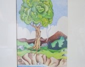 Vintage Watercolor Original Art -Seasons - Choice of  Spring, Summer, Fall - Framed - Signed and Dated - T. Landburg, 1976