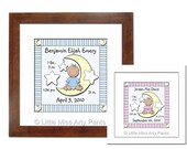 Birth Announcement Print - Moon Baby Boy and Moon Baby Girl Design