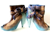 Shoes, High Heels, Half Boots, Booties, Upcycled, Bows, Fringe, Gold, Blue, Repurposed, Restructured, Something Blue, Wedding, Bride