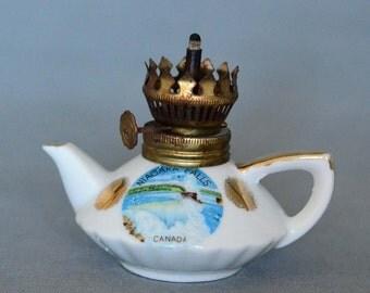 Niagara Falls Souvenir Miniature Tea Pot Oil Lamp