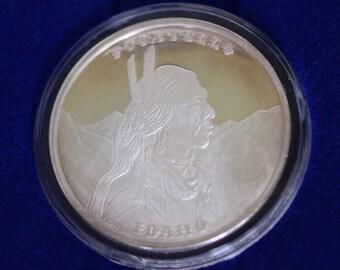 Chief Pocatello Idaho Centennial 1 Troy Ounce Silver Coin 1882-1982