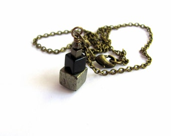 Cube Necklace Pyrite Fool's Gold Black Onyx Stone Pendant Brass Wire Wrapped Eco Friendly Geometric Industrial Natural Jewelry by Hendywood