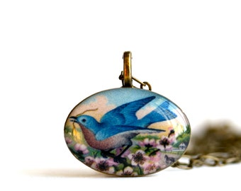 Bluebird Resin Necklace - Bird Necklace - Bird Pendant - Bluebird Jewelry - Bluebird Pendant - Bluebird - Bird Jewelry - Animal Jewelry