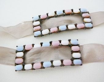Vintage .. Pastel Cabochon Buckle, Baby Pink, Blue, White Pot Metal Silver Tone Rectangle Altered art