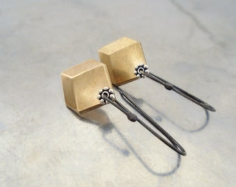 Geometric earrings row brass, drop, sterling silver oxidized black, dangle earrings, bohemian rustic golden faceted hexagon, mixed metal