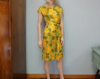 Delightful Vintage Wiggle Dress, Cocktail Party Dress 1959-1960, Sheath in Warm Golden Yellow and Olive Floral Satin