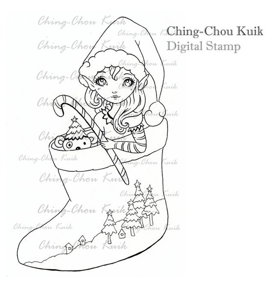 Christmas Elf - Digital Stamp Instant Download / Winter Xmas Sox Lil Sweetie Mia by Ching-Chou Kuik