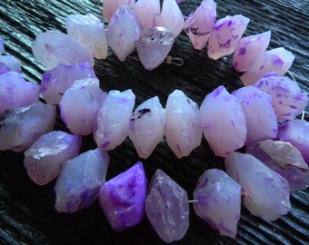 lavender purple Rough chalcedony beads, 8 inch strand, by BrazilianGems