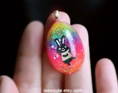 Easter Bunny Necklace, Easter Egg, Girl Easter Jewlery, Rainbow Glitter Resin Necklace Easter Egg Bunnies & Glitter, Handmade by isewcute