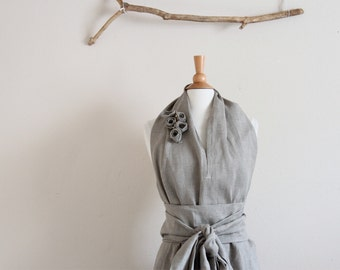 custom eco linen chic halter floor length dress with obi and roses