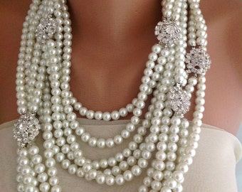 Pearl Necklace, Bridal Jewelry Necklace, Chunky Layered bold Ivory Pearl Necklace with rhinestone brooches Statement Piece