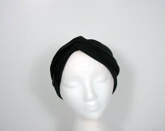 Black Lycra Twisted Turban Headband  Black Turban Headwrap Hair Scarves Head Scarf  Head Wrap Black Lycra Head Wraps Turban Style Headbands