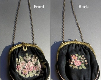 Antique French Purse Pink Black Tambour Embroidery Ornate Frame Double Chain Handle Charming