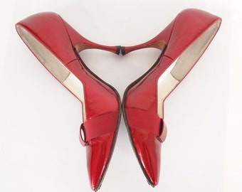 50s Candy Apple Red Patent Stiletto Pumps by D'Antonio 6.5 N