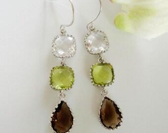 Long Crystal Earrings, Silver Earrings, Three Stone Drops, Smoky Topaz, Green Glass, Clear Glass, Bridesmaid Earrings, Gardendiva