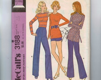 1970s Vintage Sewing Pattern McCalls 3188 Unbonded Stretch Knit Wide Leg Bell Bottom Pants Shorts Waist 24 70s 1972