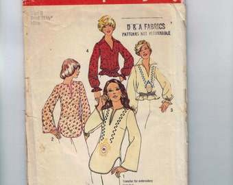 1970s Vintage Sewing Pattern Simplicity 6777 Embroidered Tunic Top Blouse Size 8 Bust 31 1/2 or Size 7/8 Bust 29 70s 1974  99