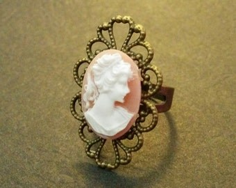 Pale Pink Victorian Cameo Lady Ring