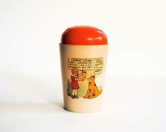 ovaltine orphan annie shake-up mug with lid vintage 1930s beetleware comics chocolate milk cup collectible cartoon dairy advertising promo