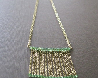 Green Tsavorite Garnet Necklace, Waterfall Beaded Necklace 14k GF - Sample Sale