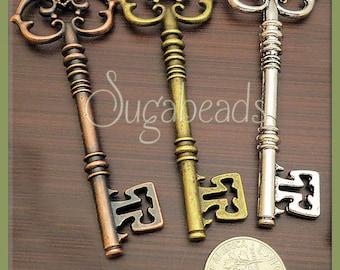 3 Large Fancy Mixed Keys in Antique Brass, Silver, Copper 81mm