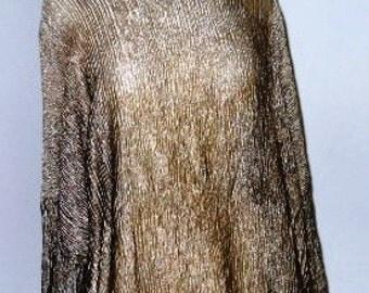 Bronze Crinkled Metallic Silk Blouse