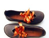 UK 3, Handmade Womens Leather Fairytale Shoes, CLARA in Marmite Mottle