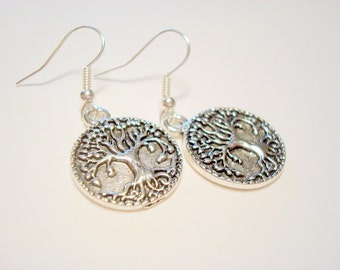 Silver Yggdrasil Tree of Life with Roots Earrings