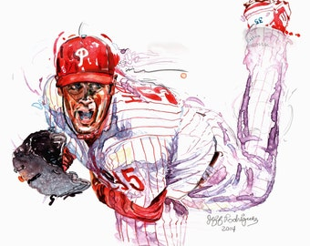 Watercolor portrait of Philadelphia Phillies baseball player Cole Hamels - giclee from original