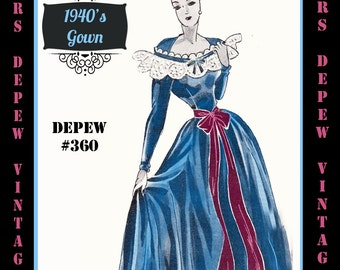 Vintage Sewing Pattern 1940's Evening or Wedding Gown in Any Size Depew 360 - PLUS Size Included -INSTANT DOWNLOAD-