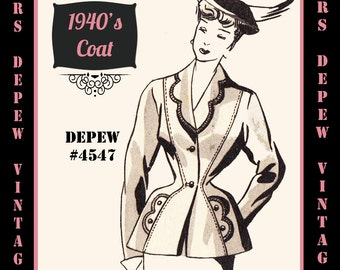 Vintage Sewing Pattern 1940's Peplum Jacket in Any Size # 4547 Draft at Home Pattern - PLUS Size Included -INSTANT DOWNLOAD-